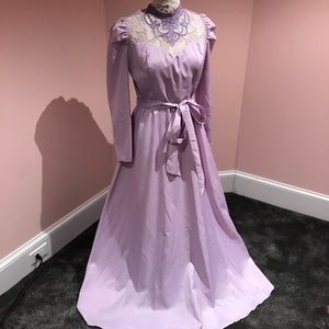 Vintage lace 70s prom dress